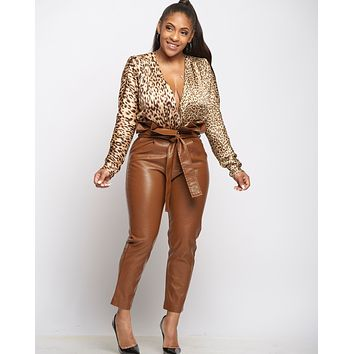 Cheetah Leopard Crossover Blouse Wrap Bodysuit
