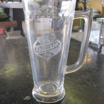 Vintage Advertising Falstaff Beer Glass Tapered Stein with Logo