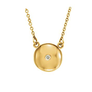 Diamond Accent 10mm Domed Circle Necklace in 14k Yellow Gold 16.5 Inch
