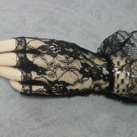 Victorian Gothic Steampunk Old West Civil War black lace fingerles gloves NEW!