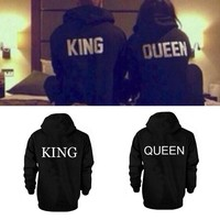 Womens Mens Couples Long Sleeve Hooded Hoodies Letters King Queen Casual Tops Sweatshirts Spring Autumn Q5342