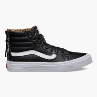Vans Leather Sk8-Hi Slim Zip Womens Shoes Black/Leopard  In Sizes
