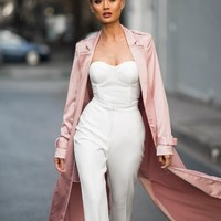 2016 New Vintage Pink Women Long Duster Celebrity Club Party Wear notched sashes bow windbreaker Long Coat Casual Jacket