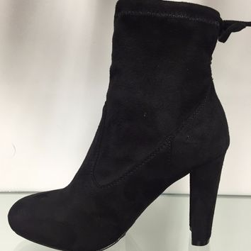 Amaya-8 Ankle High Tie Lace Up Pull On Block Chunky Heel Bootie Boot Shoe Black