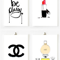 4 chanel dream prefume - original Illustration art print - A4 Size - black and white Poster - black Background