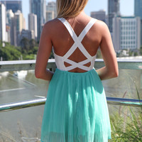 Mint Chiffon Dress with White Lace Bodice Top & Cross Back