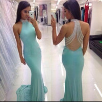 Beautiful Mermaid Prom Dresses 2017 New Halter Beads Sheer Back Floor Length  Evening Gownss
