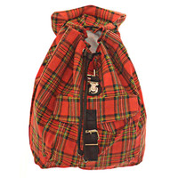 Vintage 90s Plaid Backpack Tartan Red Black Green Drawstring Bag Grunge Punk Womens