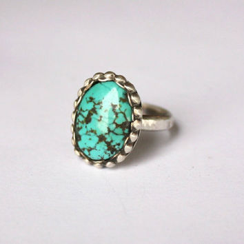 Turquoise ring silver size 6 - sterling silver jewelry handmade, native american navajo ring  (UK AUS M)