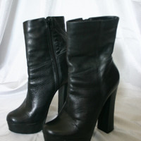 90s PLATFORM Black Leather High Heel BOOTS / 7 m Women's shoes