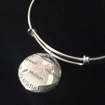 Sisters Friends Mothers Daughter Together Pink Awareness Ribbon Silver Expandable Charm Bracelet Adjustable Bangle Gift Breast Cancer