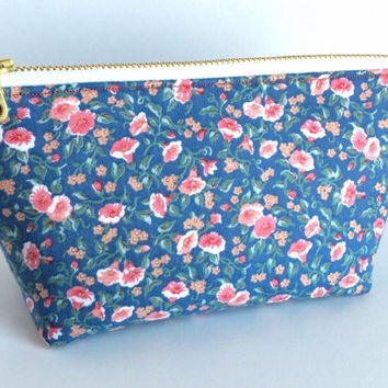 Small Cosmetic Bag,Small Makeup Bag,Something Blue,Floral Makeup Bag,Floral Cosmetic Bag,Vintage Cosmetic Bag,Vintage Makeup Bag
