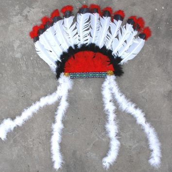 Indian Feather Headwear American Costumes Indian Chief Feather Hat Costume Feather Party Accessories