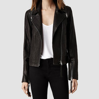 Womens Alford Leather Biker Jacket (Deep Burgundy) | ALLSAINTS.com