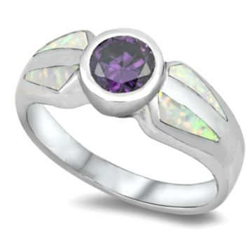 .925 Sterling Silver Amethyst and White Fire Opal Ladies Ring Size 5-9 Round Cut Wide Band Solitaire