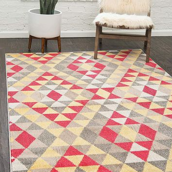 0172 Multi Color Abstract Geometric Contemporary Area Rugs