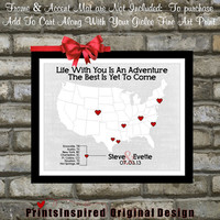 Custom Wedding Travel Theme Map Love Story Quote: Unique Wedding Gift Ideas For Husband Him Bride Groom Heart Picture Print 11x14 Poster Art