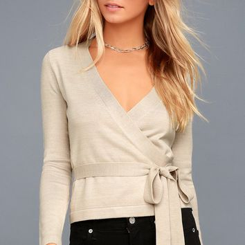 All Wrapped Up Beige Long Sleeve Sweater Top