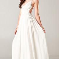 BLOSSOMING CROCHETED BACKLESS MAXI DRESS