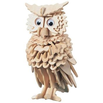 3D Wooden Owl Puzzle Jigsaw Children Kids Toy Pre-Cut Wooden Shapes Model Intelligence Toys