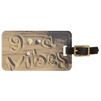 "Fun, ""Good Vibes"" Quote Drawn In Beach Sand Photo Bag Tag"