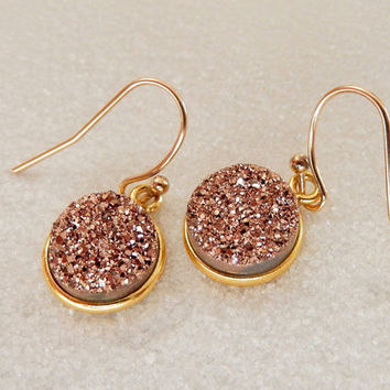 Rose Gold Druzy Earrings Drusy Copper Quartz Drops - Free Shipping Jewelry