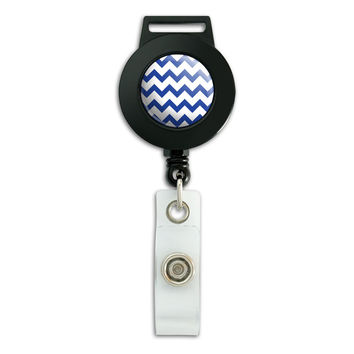 Chevrons Blue Retractable Badge Card ID Holder