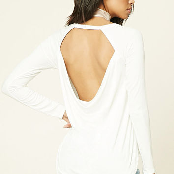 Ribbed Knit Scoop Back Top
