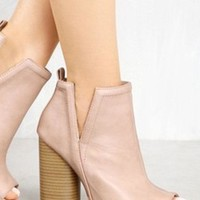 Open Toe Chunky Heels Cut Sides Booties