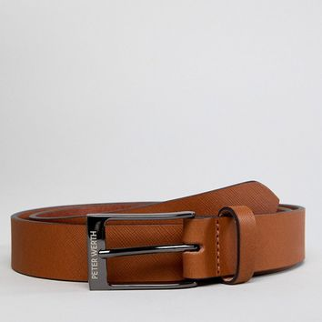 Peter Werth Saffiano Leather Belt In Tan at asos.com