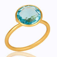 18K Yellow Gold Plated Sterling Silver Blue Glass Gemstone Stacking Ring