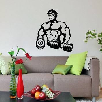 Bodybuilder Fitness Model Man Sport Sportsman Gym Wall Vinyl Decal Sticker Housewares Design Art Murals Interior Decor Home Bedroom SV5185