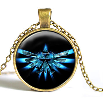 Zelda Triforce Necklace Legend of zelda pendant personality silver round glass dome necklace Jewelry women men 2015 B1