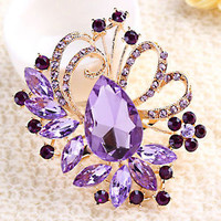 Pugster Vintage Floral Flower Drop Pin Brooch Purple Rhinestone Crystal Pendant