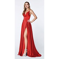Floor Length Spaghetti Strap Red Prom Dress V Neck