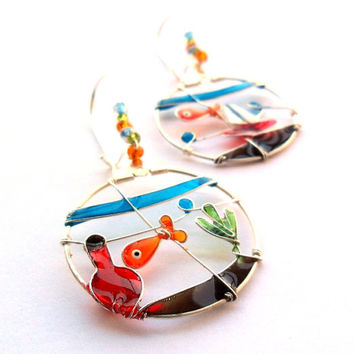 Pet goldfish earrings, glass fish bowl earrings, colorful dangle earrings, wearable art jewelry