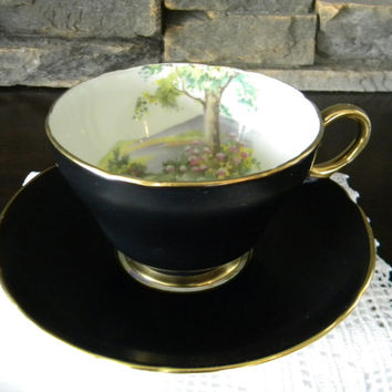 Teacup, Shelley Black Satin Matte Teacup, Fine Bone China, Tree Scenery in Teacup and on Saucer, Gold Trim -1945-1966 Henley Shape-RARE