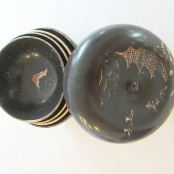 Black Japanese Lacquered Box Miniature Gilt Decorated Painted Nesting Bowls
