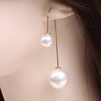2015 big new fashion double-sided U-shaped pearl earrings ear hook long pendant earrings Ladies Accessories = 1753798724