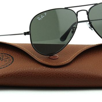 Cheap Ray-Ban RB3025 Unisex Aviator Polarized Sunglasses Black Frame/Green Polarized outlet
