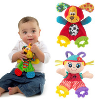 New Cute Infant Plush Toy Comfort Towel with Sound Paper and Baby Teether