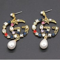 GUCCI Retro Stylish Women Personality Shiny Colorful Diamond Earrings Accessories Jewelry