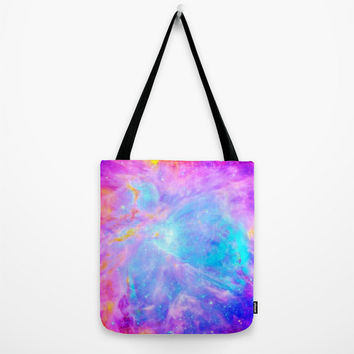 Galaxy Tote Bag, Pink Blue Lavender Orion Nebula Tote, Galaxy Print Tote Bag, Canvas Tote, Large Tote, Market Tote, Book Bag, Colorful Bag