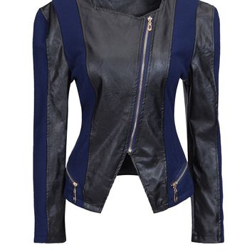 Streetstyle  Casual Collarless Leather Zips Patchwork Plus-size-jacket