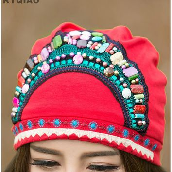 KYQIAO Mexican style ethnic vintage black blue red beading bandanas 2017 women winter original hippie hat skullies free shipping