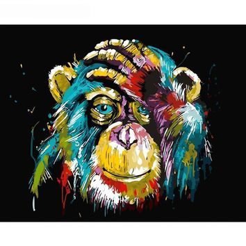 Frameless Baboon Animal DIY Painting By Number Wall Art Picture Paint By Number Canvas Painting For Home Decor Artwork