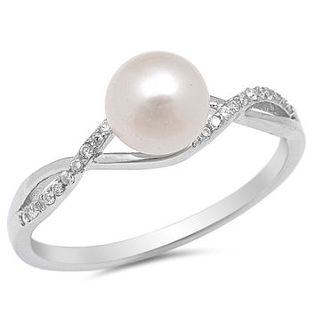 Sterling Silver CZ Cultured Pearl and Simulated Diamond Infinity Designer Ring 5MM
