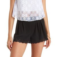 Laser-Cut Scalloped High-Waisted Shorts by Charlotte Russe - Black