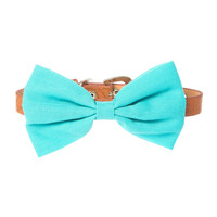 Turquoise Fabric Bow and Brown Faux Leather Collar for Small Dogs