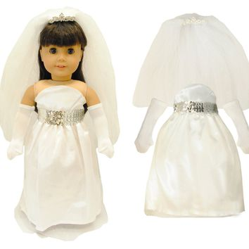 Doll Clothes Fits American Girl & Other 18 Inch Dolls Bridal White Dress
